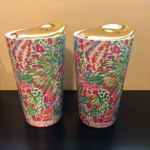 Lilly Pulitzer Set of 2 Ceramic Travel Mugs